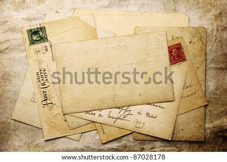 Vintage background from old post cards - stock photo