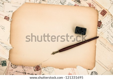 vintage background grungy paper sheet, ink pen, old letters and cards - stock photo