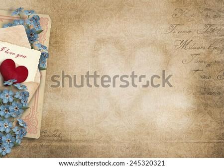 Vintage  background I love you.Valentine card - stock photo