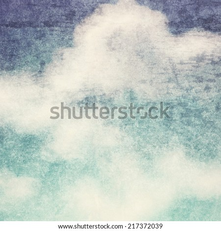 Vintage background in the blue shade with clouds texture - stock photo