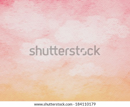 Vintage background in the pink shade with clouds. - stock photo