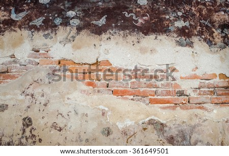 Vintage background of old brick wall with cracked concrete area. - stock photo