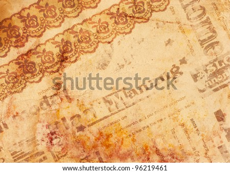 Vintage background - old paper with texture lace, newspaper and rusty spots - stock photo