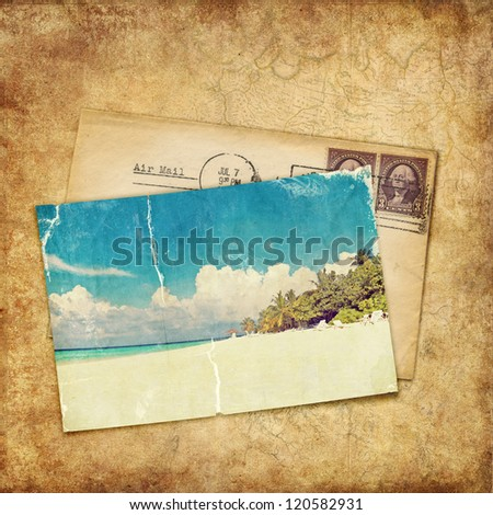 Vintage background. Old photo and letter - stock photo