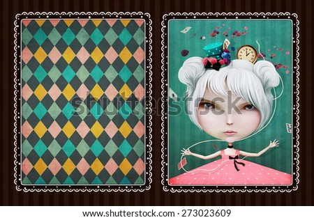 Vintage background or illustration for greeting cards or playing card - stock photo