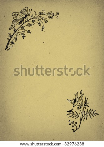Vintage Background Paper with Corner Accents - stock photo