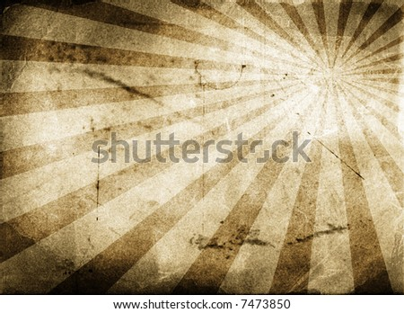 Vintage background - paper with sun rays - stock photo