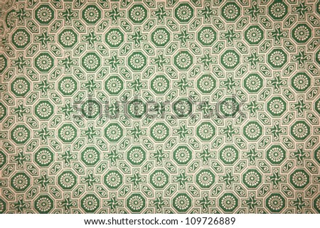 Vintage background  poster with clever green pattern - stock photo