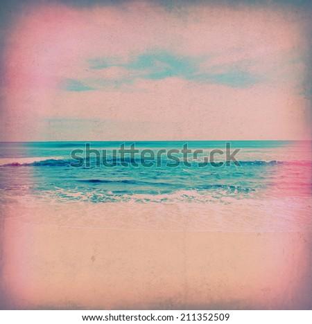 vintage background sea - stock photo