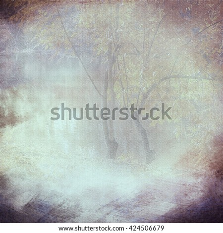 Vintage background vignette with a silhouette of trees on a cloth,  gray smoke. An abstract background with the translucent image of trees and the darkened edges. Basis for imposing of the text. - stock photo