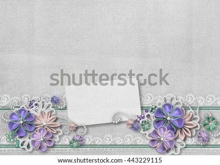 Vintage background with a border of flowers handmade - stock photo