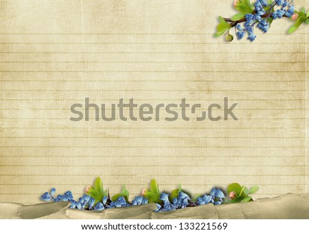 Vintage background with blue flowers - stock photo