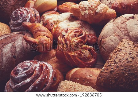Vintage background with bread and buns
