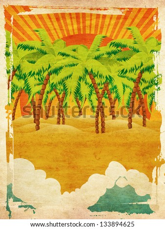 Vintage background with cartoon tropical island with palm trees and waves on sunset. - stock photo