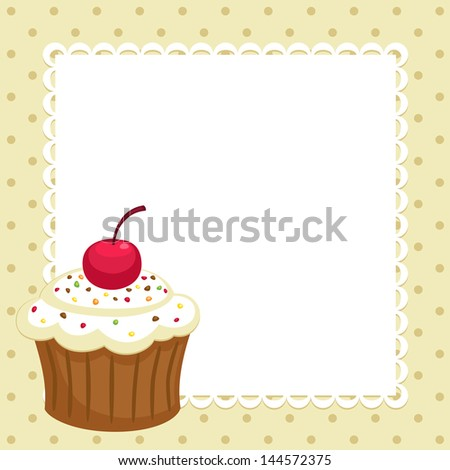 vintage background with cupcake invitation template
