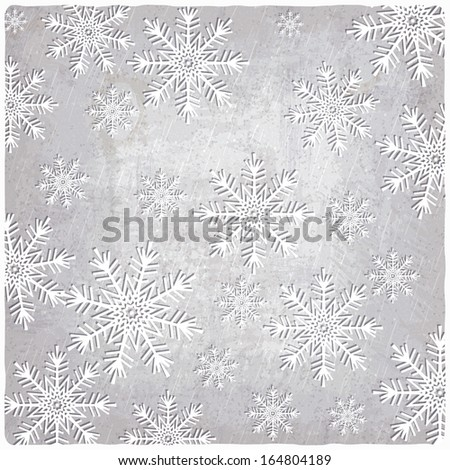 Vintage background with cutout paper snowflakes - raster version - stock photo