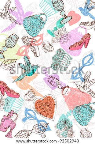 Vintage background with different things - stock photo