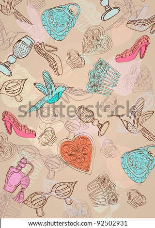 Vintage background with different woman things - stock photo