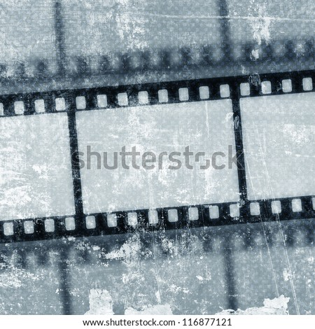 Vintage background with film flame - stock photo