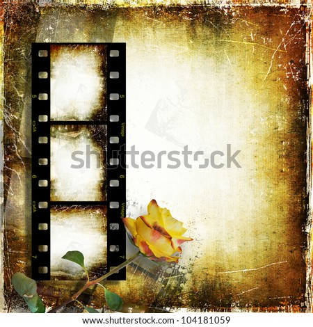 Vintage background with film strip and roses - stock photo