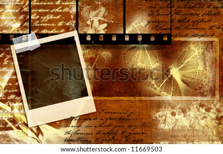 vintage background with film strips, instant photo and handwritings - stock photo