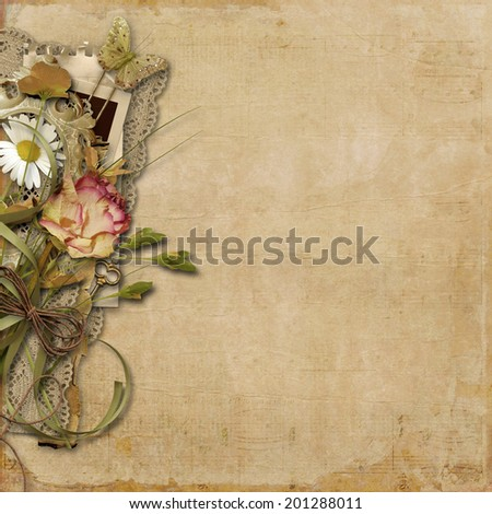 Vintage background with flowers and lace - stock photo