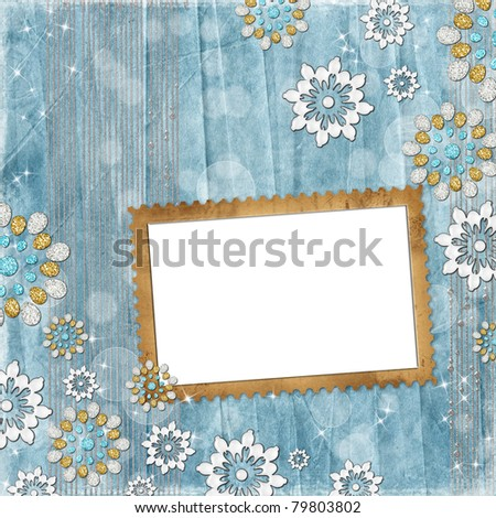Vintage background with frame and decorative flowers - stock photo