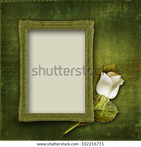 Vintage background with frame and rose - stock photo