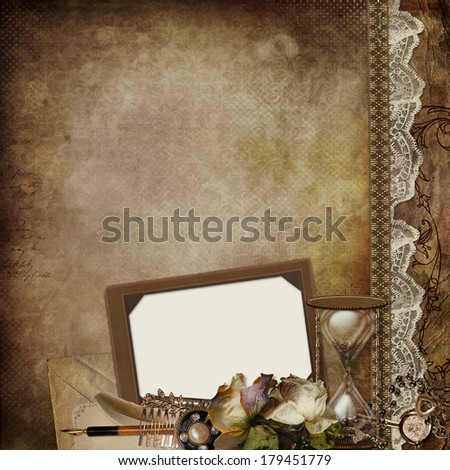 Vintage background with frame, faded roses, hourglass and retro decor - stock photo