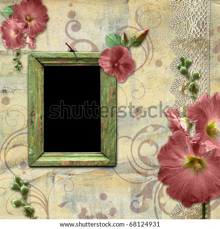 Vintage background with frame for photo and flowers hollyhocks - stock photo