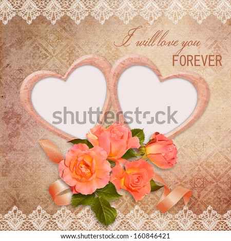 Vintage background with frames and roses - stock photo