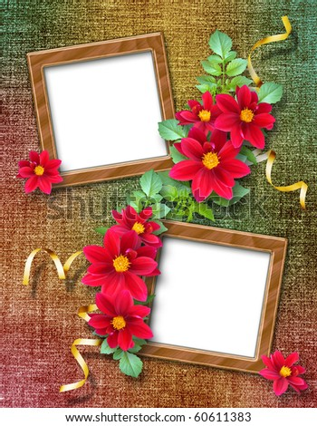 Vintage background with frames for photos. - stock photo
