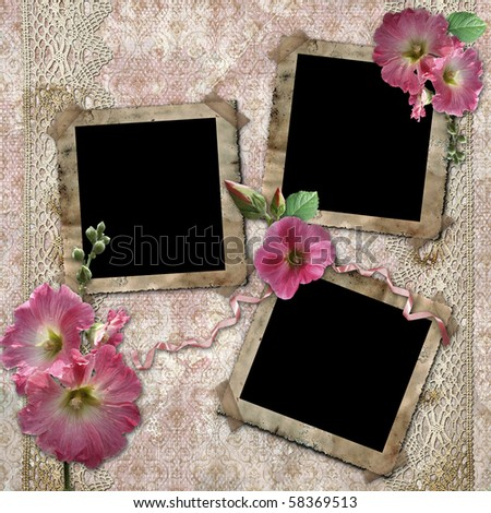 Vintage background with frames for photos and flowers - stock photo