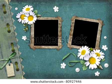 Vintage background with frames for photos and white daisies - stock photo