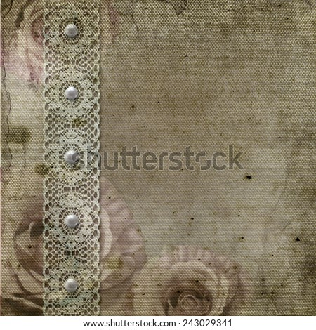 Vintage background with frames, roses, lace, text I Love you, hands over retro paper - stock photo