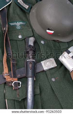 vintage background with german army field equipment - stock photo