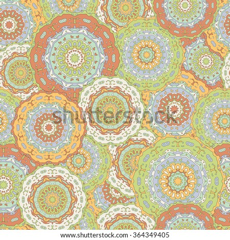 Vintage background with hand drawn colorful mandalas. Abstract ethnic illustration