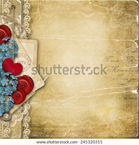 Vintage background with heart and flowers  - stock photo