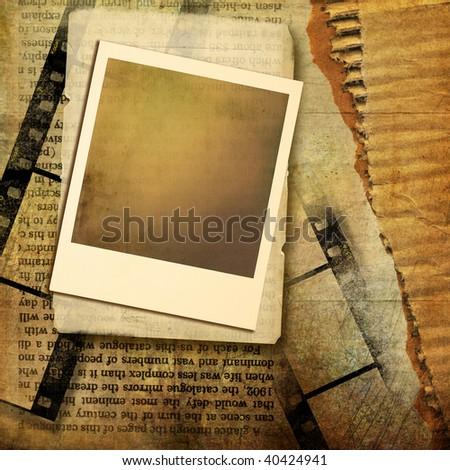vintage background with instant frame and film strips - stock photo