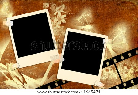 vintage background with  instant photo frames - stock photo