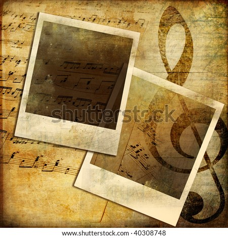 vintage background with musical elements and instant frames - stock photo