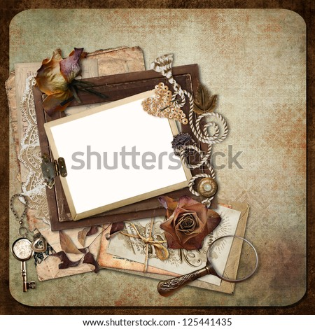 Vintage background with old frames, letters and cards - stock photo