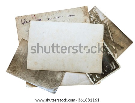 Vintage background with old paper, letters and photos isolated on white