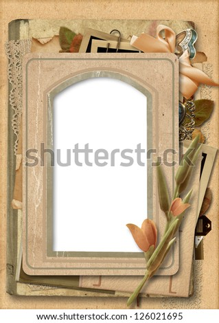 Vintage background with old photo frame - stock photo