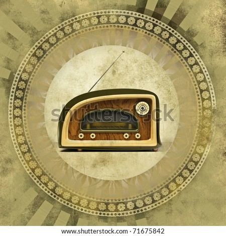 Vintage background with old radio
