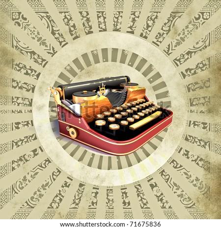 Vintage background with old typewriting machine - stock photo