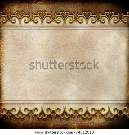 Vintage background with ornamental border - stock photo