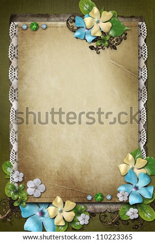 Vintage background with paper,  lace and flower composition - stock photo