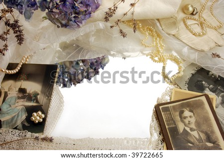 Vintage background with photographs, dried flowers and pearls - stock photo
