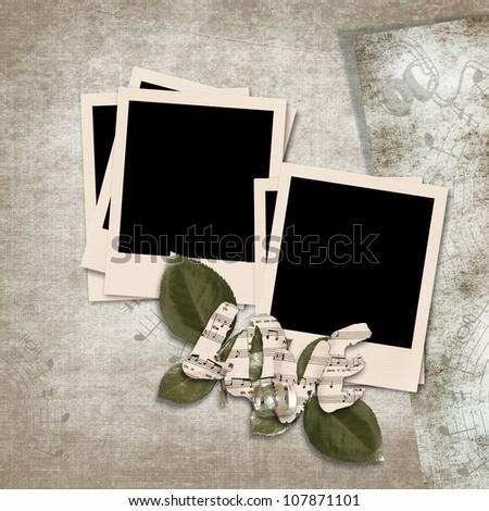 Vintage background with polaroid frame - stock photo